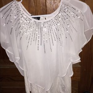 Girls 10/12 white blouse with sequins